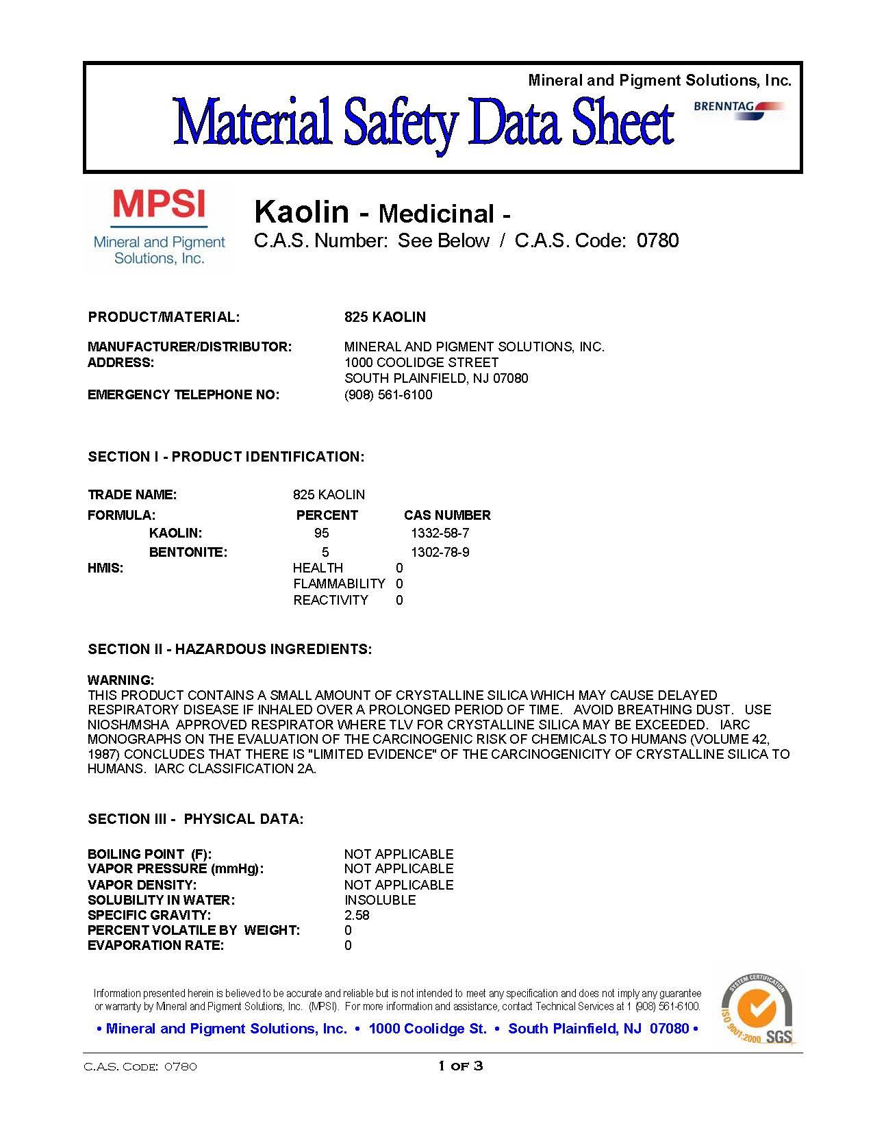 MSDS Kaolin Clay-Medicinal Page 1