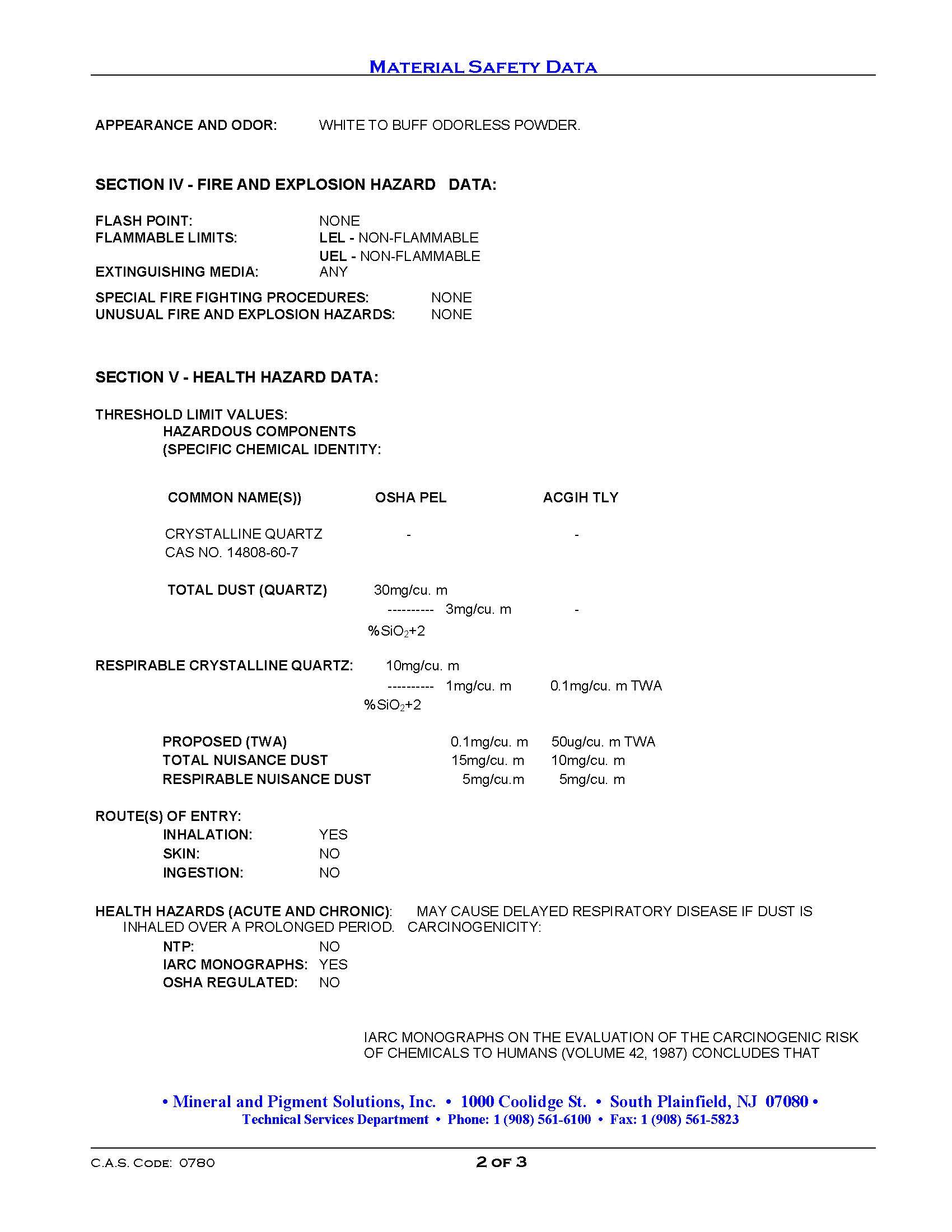 MSDS Kaolin Clay-Medicinal Page 2