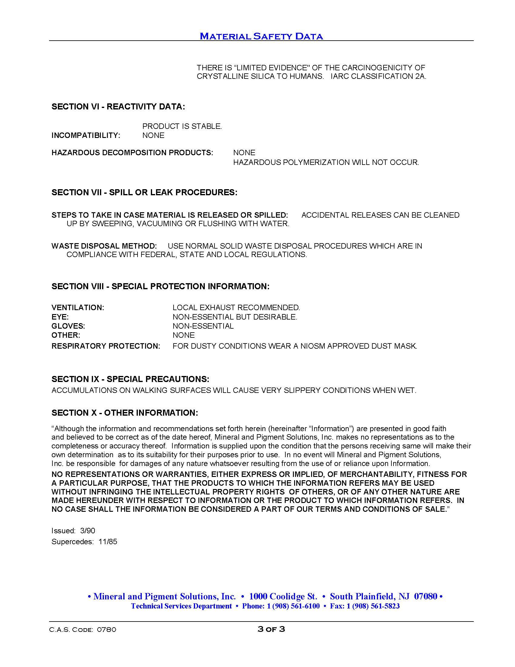 MSDS Kaolin Clay-Medicinal Page 3